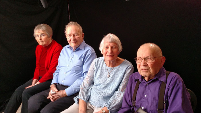 Marian (Buyse) Botha, Bob Buyse, Evelyn (Danielson) Ternstrom, and Ray Ternstrom in Carmichael, California, on February 19, 2018