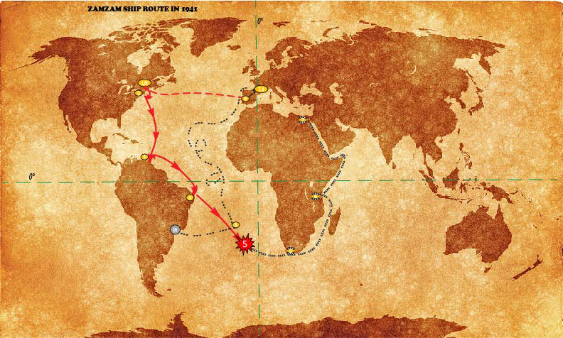 map showing the route the Zamzam took from New York City, NY, to South America, to the middle of the Atlantic Ocean where it was sunk by the Atlantis