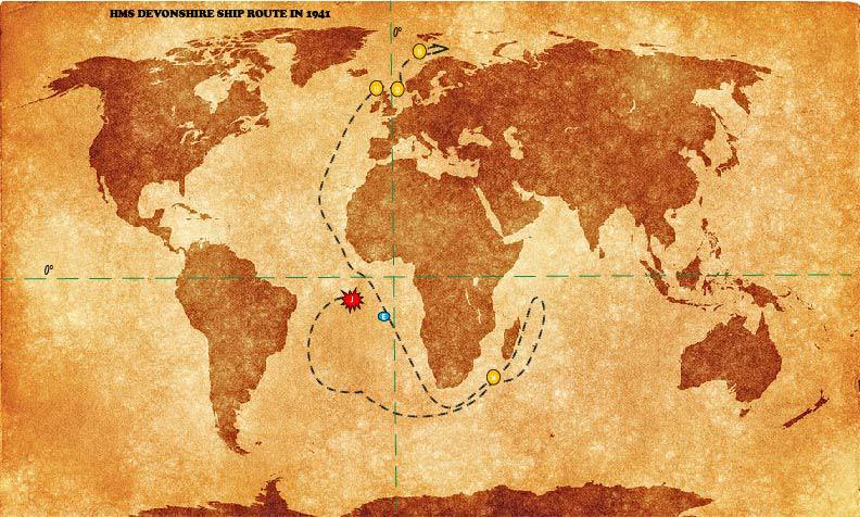 HMS Devonshire Ship Route in 1941