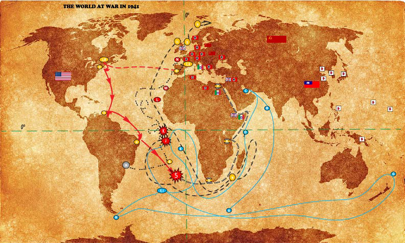 Map 6. Combined War and Ship Route Map (see map legends from Maps 1-5)